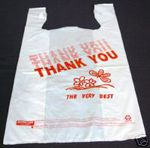 Custom Large Plastic T-Shirt Shopping Bags (Thank You)