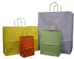 """Varnished Pinstripe Tinted Paper Bags w/Twisted Paper Handle (5 1/4""""x3 1/2""""x8 3/8"""")"""