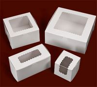 "Ohio Valley Windowed White Cupcake Box (10""x7""x2 1/2"")"