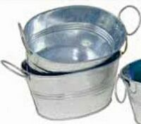 "Galvanized Oval Tub w/Side Handles & Hard Liner (12""x9""x4"")"