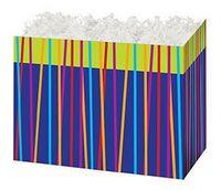 Small Festive Stripes Theme Gift Basket Box