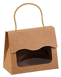 Small Gourmet Windowed Gift Tote Bag (Kraft Stripe)