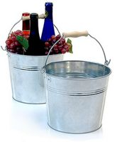 "8 1/2"" Galvonized Pail w/Wooden Handle"