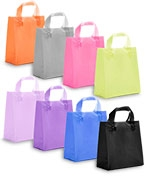 """Colored Frosted Shopping Bag w/Soft Loop Handles (6 1/2""""x3 1/2""""x6 1/2"""")"""