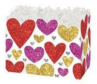 Small Glittering Hearts Theme Gift Basket Box