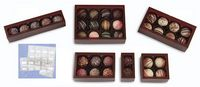 "Windowed Brown Frosted 6 Piece Candy Box (2 3/4""x4 1/8""x1 3/8"")"