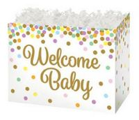 Small Welcome Baby Confetti Theme Gift Basket Box