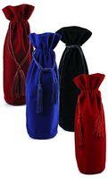 Velvet Wine Bag w/Matching Drawstring Cord
