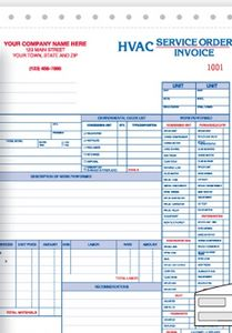 promotional product hvac service orderinvoice form