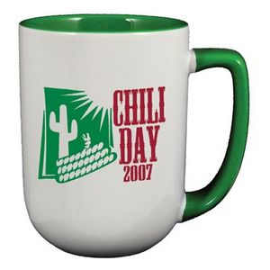 17 Oz Arlen Coffee Mug Green Interior Handle C173 Ideastage Promotional Products