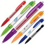 Plastic Retractable Pen w/ Rubber Grip