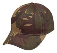 6 Panel Green Camouflage Twill Cap