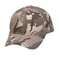 6 Panel Structured Brown Camouflage Cap w/ Velcro Closure