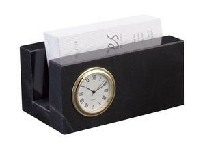 Jet Black Marble Business Card Holder Wmini Clock Cl 161