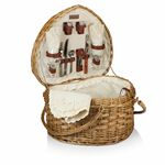 Custom Heart Picnic Basket - Willow Basket w/Deluxe Picnic Service For 2