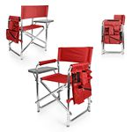 Custom Sports Chair - Folding Chair w/Fold Out Table, Side Pockets, Drink Holders