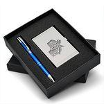 Custom Beautiful Gift Set w/ Satin Finished Silver Business Card Case & Aluminum Pen