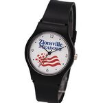 Custom Unisex Plastic Watch with strong plastic band & metal buckle, color watch hands, Japan movement