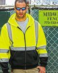 Custom ML Kishigo Hi-Vis Hooded Lime Green Full-Zip Sweatshirt