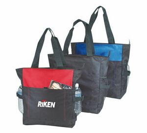 Deluxe Zippered Tote Bag W 2 Water Bottle Pockets Bs203 Ideastage Promotional Products