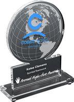 "Globe Acrylic Promotional Award (5 1/2""x 7""x 3/8"") Screen-Printed"