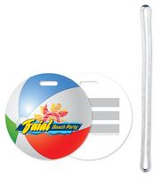 "3"" Beach Ball Design Luggage Tag Four Color Process Imprint"