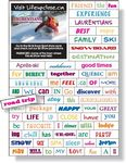 Custom Magnetic Word Set (74 pieces), Digital Full Color, White Vinyl Topcoat