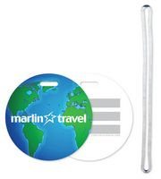 Stock Globe Design Luggage Tag with Write-on ID panels 40 mil plastic Full Color
