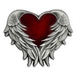 Custom Heart with Angel Wings Pin - Antique Nickel