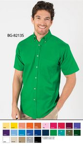 Men's Short Sleeve Fine Line Cotton Twill Shirt w/Patch Pocket