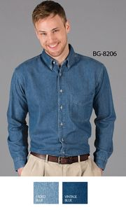 Men's Long Sleeve Cotton Denim Shirt w/Patch Pocket (Tall)