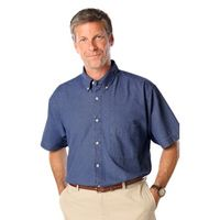 Men's Short Sleeve Cotton Denim Shirt w/Patch Pocket