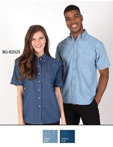 Ladies Short Sleeve Cotton Denim Shirt w/Patch Pocket