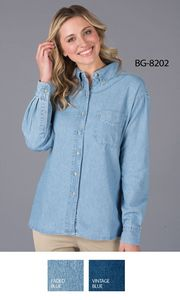 Ladies Long Sleeve Cotton Denim Shirt w/Patch Pocket