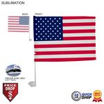 48 Hr Quick Ship - Standard Car Flags, 12x15, Sublimated or Blank