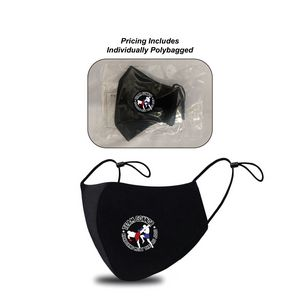 Full Color Transfer, 3-ply Adult Reusable Cotton Cloth Facemask With Filter Pocket, Left Side logo