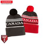 Acrylic Knit Pom Pom Beanie Toque with Cuff, Canada woven in, Blank Only, Stocked in 2 colors