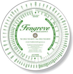 .020 White Plastic Profit Markup Wheel Calculator (6