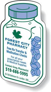 Stock Medicine Bottle Magnet .020, Screen-printed White Matte Vinyl Topcoat, #SD25/020, 1 Colour Imprint