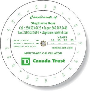 .020 White Plastic Mortgage Wheel Calculator (4.25
