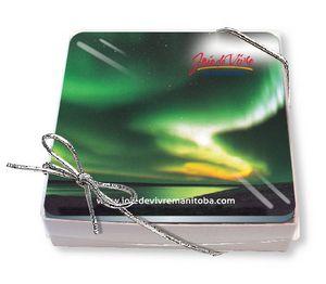 Gift Boxed Set of 4 Premium Coasters .020 Gloss Plastic Top & 3/32