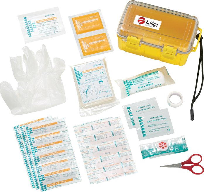 37 Pc Waterproof First Aid Box, 4.25