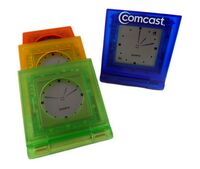 "Translucent LCA Folding Alarm Clock W/ Snooze & PM Indication (2 1/2""x2"")"