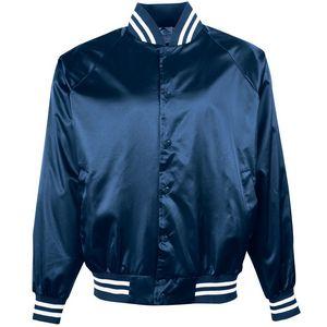 Youth Satin Baseball Jacket/striped Trim