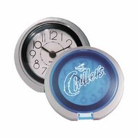 Flip Open Travel Alarm Clock w/ Translucent Blue Lid