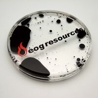 Acrylic Liquid Filled Coaster - Black/Clear shown