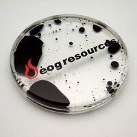 Acrylic Liquid Filled Coaster - Black/Clear shown