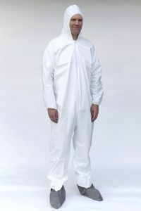 Custom White Protective Coveralls w/ Hood & Boots 25/pk