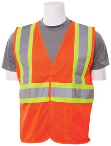 S382 Aware Wear ANSI Class 2 Mesh Hi-Viz Orange Vest (Large)
