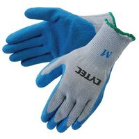 Blue Textured Latex Palm Coated Gloves w/Gray